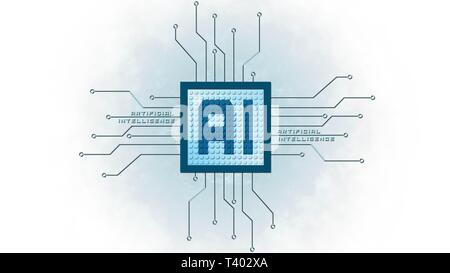 AI - Artificial intelligence background - Abstract concept of cyber technology and automation - 3D illustration