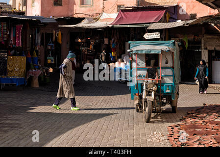 View of one of the entrances of the souk in Marrakesh - Stock Photo
