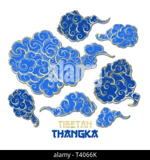 Chinese or Tibetian Golden Outline and Blue Vector Clouds Collection. Asian Oriental Artistic Tangka Illustration. Paper Art Style