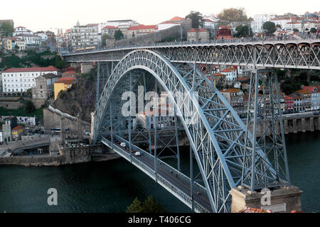 An elevated view of double deck metal arch Dom Luis I bridge structure from Vila de Gaia cable car to Ribeira in Porto Portugal Europe   KATHY DEWITT - Stock Photo