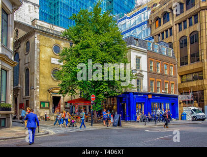 London, U.K, Aug 2018, urban scene in Eastcheap - Stock Photo