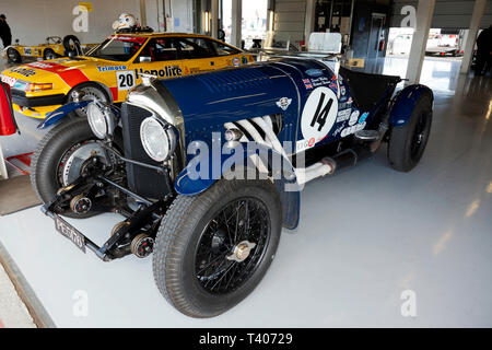 A Blue, 1925 Pre-War Bentley 3/4.5L Sports Car  in the International Pits during the 2019 Silverstone Classic Media Day/Test Day - Stock Photo