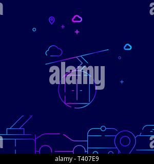 Ski Lift, Cableway Vector Line Illustration. Public Transport Gradient Icon, Symbol, Sign. Dark Blue Background. Related Bottom Border. - Stock Photo