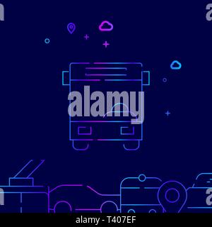 Bus Front View Vector Line Illustration. Public Transport Gradient Icon, Symbol, Sign. Dark Blue Background. Related Bottom Border. - Stock Photo