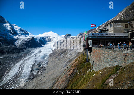 PASTERZE GLACIER, AUSTRIA, SEPTEMBER 16, 2012: A view over Pasterze, Austria's longest glacier in the Alps on a beatiful clear day - Stock Photo