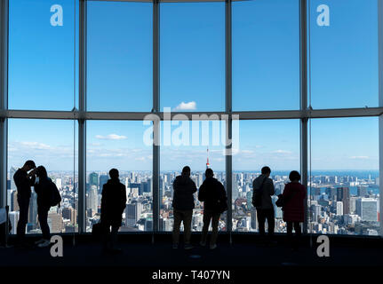 Aerial view over the city from the observation deck of the Mori Tower, Roppongi Hills, Tokyo, Japan - Stock Photo