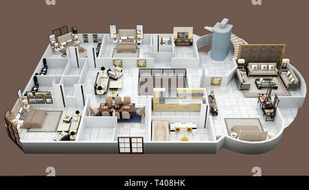 3d render apartment floor plan - Stock Photo
