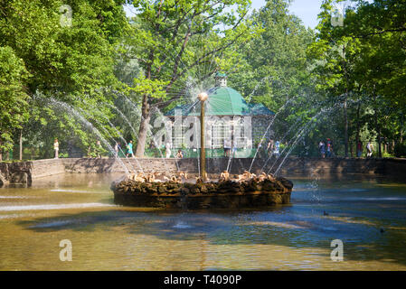 SAINT-PETERSBURG, RUSSIA - JULY 03, 2015: View of the fountain 'The Sun' on a sunny July afternoon. Peterhof - Stock Photo