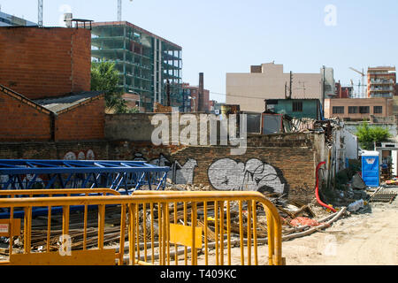 Construction works, Diagonal del Mar area, Barcelone, Catalonia, Spain - Stock Photo