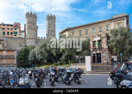 GENOA, ITALY - MARCH 9, 2019: View of Porta Soprana and the House of Christopher Columbus in Genoa, Italy - Stock Photo