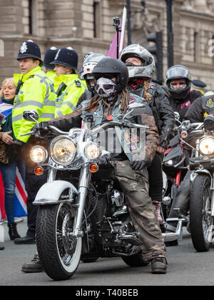 Westminster, London, UK; 12th April 2019; Male Biker Participating in the Rolling Thunder Protest in Support of Soldier F - Stock Photo