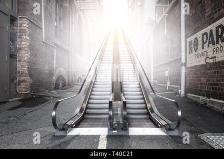 Modern double escalator in a city - Stock Photo