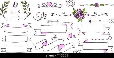 Set of cute doodle banners, floral elements and hearts for your design - Stock Photo