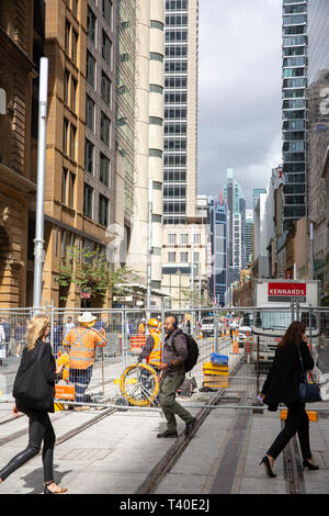 CBD light rail construction project in Sydney city centre,Australia - Stock Photo