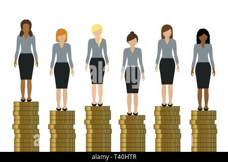 women with different incomes standing on golden coins finance concept vector illustration EPS10 - Stock Photo