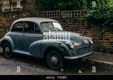 London, UK - July 30, 2018: front view of the Morris Minor 1000. The Morris Minor was one of the most popular cars from Morris - Stock Photo