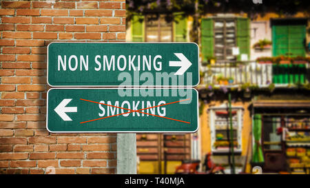 Street Sign Smoking versus Non Smoking - Stock Photo