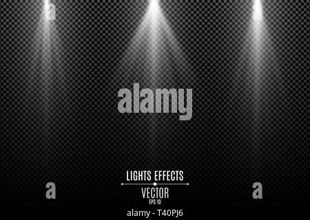 Collection of white lights effects isolated on a dark transparent background. White stylish rays. Lamp beams. Neon glowing. Vector illustration. EPS 1 - Stock Photo