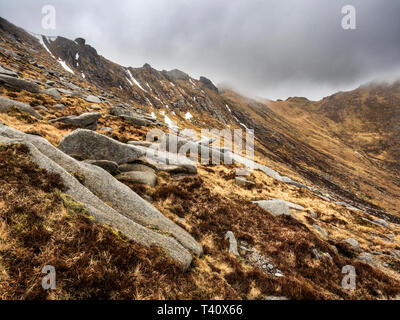 Clouds passing over buttresses near the summit of Goat Fell near Brodick on the Isle of Arran North Ayrshire Scotland - Stock Photo
