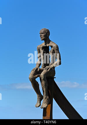 'Ship' (detail), metal sculpture by Anna Gillespie, 2019. Half Moon Bay, Heysham, Lancashire, England, United Kingdom, Europe. - Stock Photo