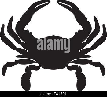 Crab Silhouette Isolated Vector Illustration - Stock Photo