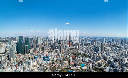 Tokyo cityscape. Panoramic aerial view over the city from the observation deck of the Mori Tower, Roppongi Hills, Tokyo, Japan - Stock Photo
