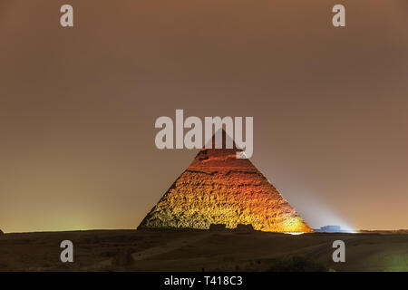 The Pyramid of Chephren night view in the lights, Giza - Stock Photo