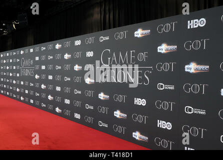 The backboard ahead of the Game of Thrones Premiere, held at Waterfront Hall, Belfast. - Stock Photo