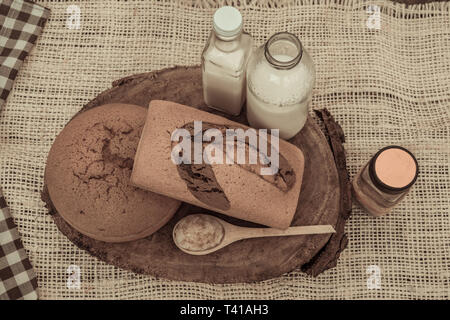 Photograph of breads made at home. the photo was made in an outdoor environment so that the feeling of freshness and yesteryear - Stock Photo