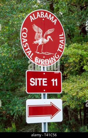 Alabama Gulf Coast Fort Morgan Peninsula Bon Secour National Wildlife Refuge Birding Trail sign - Stock Photo