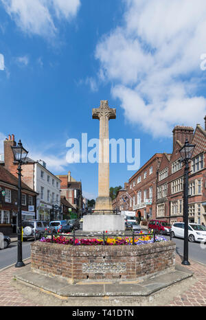 WWI and WWII war memorial in the High Street in Spring in Arundel, West Sussex, England, UK. Portrait. - Stock Photo