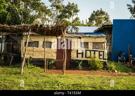 near Kisumu, Kenya - March 8, 2019 - a local hotel in the countryside - Stock Photo