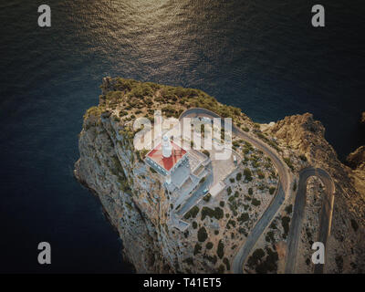 Lighthouse in the Tramuntana mountains of Mallorca from above - Stock Photo