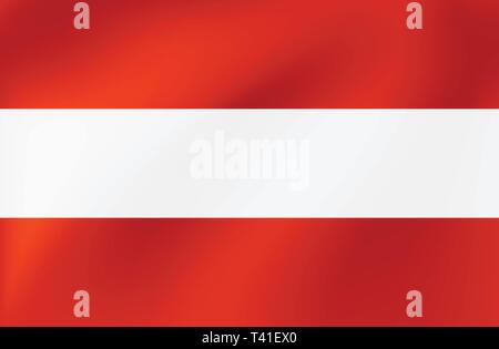 Vector national flag of Austria. Beautiful illustration with texture of waves. - Stock Photo