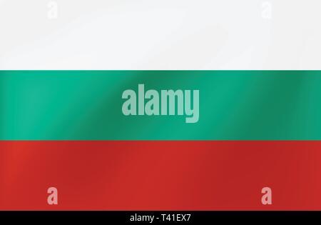 Vector national flag of Bulgaria - Beautiful illustration, wavy texture. - Stock Photo