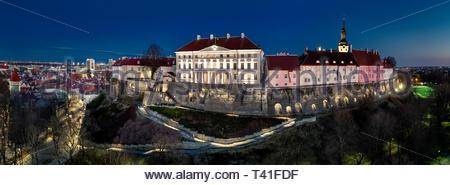 Toompea Hill in Tallinn, Estonia. aerial drone panorama view. Estonian government building facade. - Stock Photo