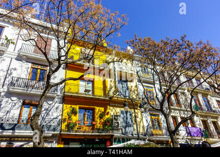 Colorful houses on Plaza de Mercat, Ciutat Vella Valencia apartment Spain