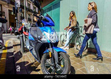 Valencia street scene view, everyday life Valencia Spain Europe - Stock Photo