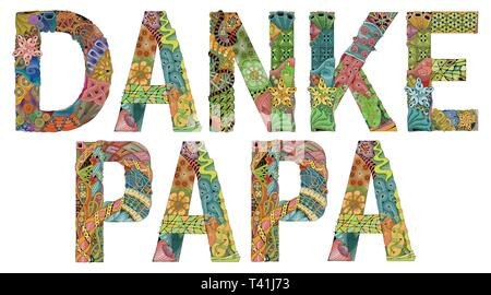 Words DANKE PAPA. Thanks dad in German. Vector decorative zentangle object - Stock Photo