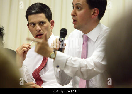 Labour Party leadership hustings take place in South London.  David Miliband Ed Miliband. 30.06.2010. - Stock Photo