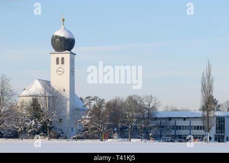 Catholic church of village Vaterstetten, district Ebersberg, Bavaria, Germany - Stock Photo