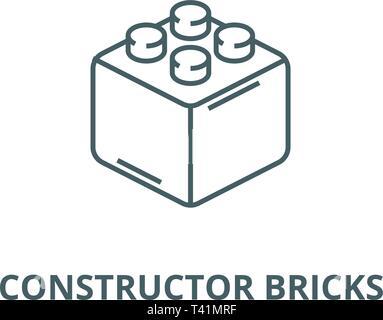 Constructor bricks line icon, vector. Constructor bricks outline sign, concept symbol, flat illustration - Stock Photo