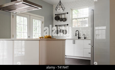 Modern white and black kitchen - Stock Photo