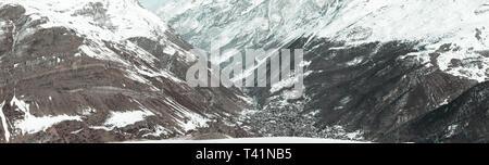 Panoramic view of the swiss village Zermatt in the winter season - Stock Photo