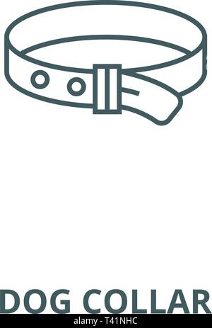 Dog collar line icon, vector. Dog collar outline sign, concept symbol, flat illustration - Stock Photo