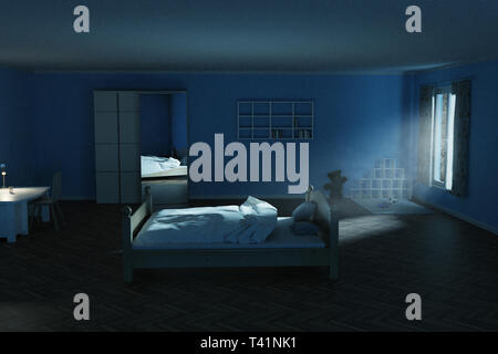 3d rendering of children's room at night with shining bright light ray of moon - Stock Photo