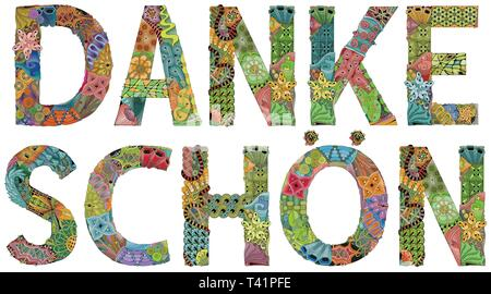Word DANKE SCHON. Thank you in German. Vector decorative zentangle object - Stock Photo