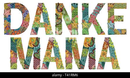 Words DANKE MAMA. Thanks mama in German. Vector decorative zentangle object - Stock Photo