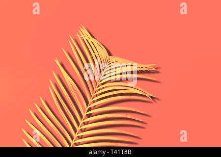 Yellow Palm branch on living coral background. Abstract duotone effect. - Stock Photo