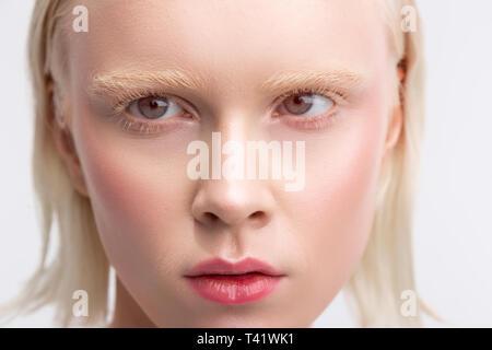 Natural makeup. Blonde-haired good-looking woman with bob cut having nice natural makeup - Stock Photo